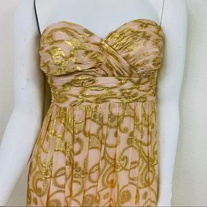 Aidan Mattox Dusty Pink & Shimmer Gold Gown Dress
